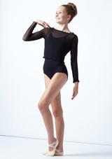 Haut court de danse ados maille fine Move Dance Spirit Noir  Avant-1 [Noir ]