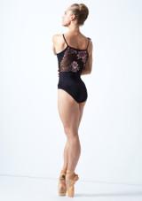 Justaucorps de danse bretelles fines maille fleurie Move Dance Petal Noir  Avant-1 [Noir ]