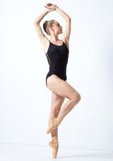 Justaucorps de danse bretelles fines maille fleurie Move Dance Furneaux Noir  Avant-1 [Noir ]