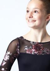 Justaucorps de danse manches longues maille fleurie ados Move Dance Rachel Noir  Détail avant-1 [Noir ]