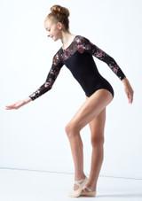 Justaucorps de danse manches longues maille fleurie ados Move Dance Rachel Noir  Avant-1 [Noir ]