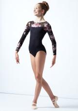 Justaucorps de danse manches longues maille fleurie ados Move Dance Rachel Noir  Avant-2 [Noir ]