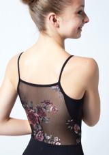 Justaucorps de danse bretelles fines ados maille fleurie Move Dance Petal Noir  Avant-1 [Noir ]