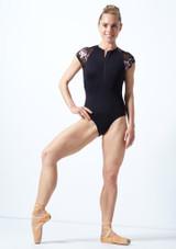 Justaucorps de danse zippé maille fleurie Move Dance Isadora Noir  Avant-2 [Noir ]