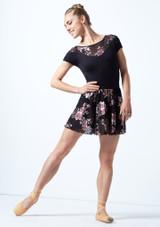 Jupe de danse à enfiler maille fleurie Move Dance Louise Noir  Avant-1 [Noir ]