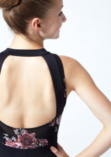 Académique de danse sans manches ados maille fleurie Move Dance Jupiter Noir  Détail arrière-1 [Noir ]