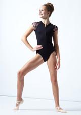Justaucorps de danse zippé ados maille fleurie Move Dance Isadora Noir  Avant-1 [Noir ]