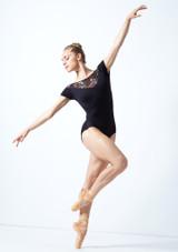 Justaucorps de danse décolleté en cœur maille fleurie Move Dance Margot Noir  Avant-1 [Noir ]
