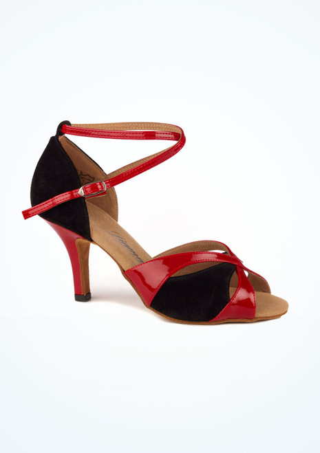 Chaussure de Danse Diamant Manni 7,5cm Noir-Rouge. [Noir-Rouge]