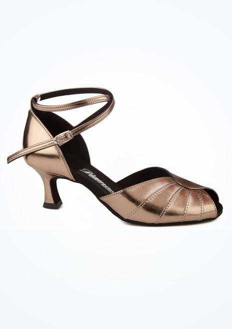 Chaussures danse de salon metallisees bout ouvert Diamant  5 cm- bronze image principale. [Bronze]