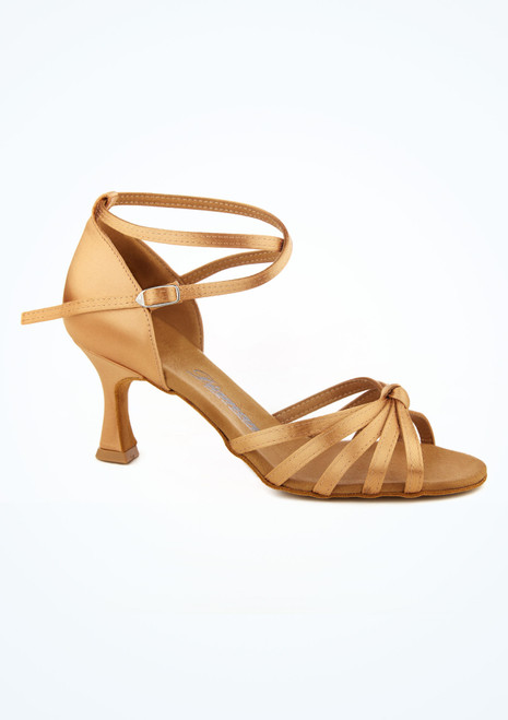 Chaussures danse de salon avec noeud Diamant 6.5 cm bronze Fauve image principale. [Fauve]