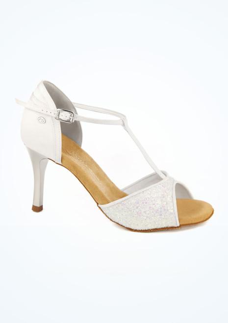 Chaussures danse latine PD600 sequins et talon miroir 6cm blanc image principale. [Blanc]