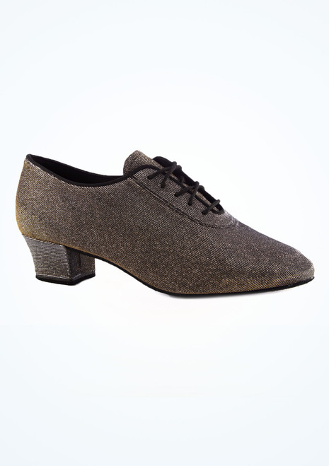 Chaussures de danse Shine 4 cm Diamant Noir-Or laterale. [Noir-Or]