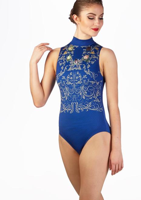 Justaucorps imprime ouvert dans le dos Ballet Rosa indigo Bleue avant. [Bleue]
