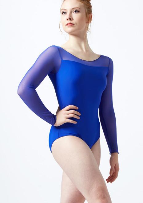 Justaucorps avec manches 3/4 en maille transparente extensible Ballet Rosa Bleue echantillon de couleur. [Bleue]