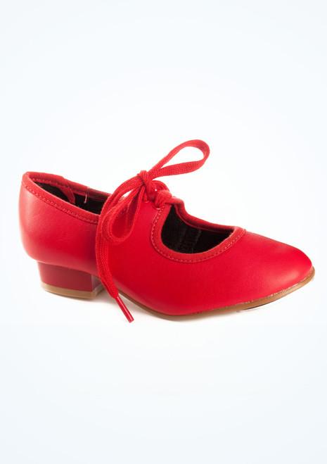 Chaussures de claquette Tappers & Pointers talon bas rouge. [Rouge]
