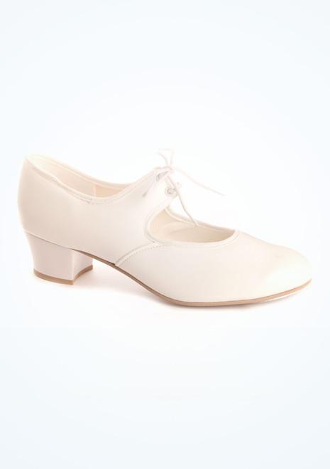 Chaussures de claquette Tappers & Pointers talon cubain blanc. [Blanc]