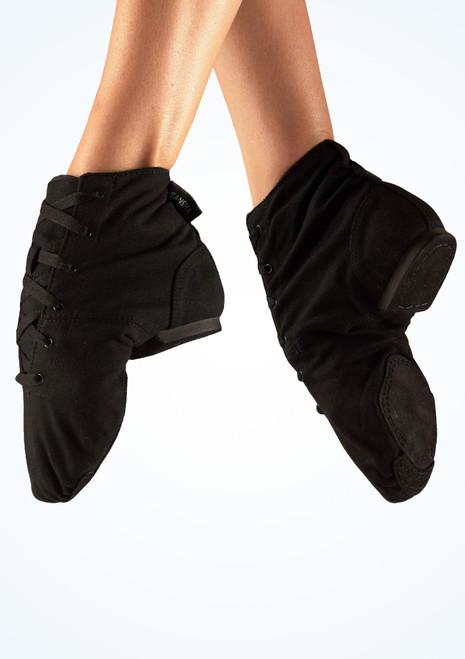 Chaussures de jazz en toile bottine Sansha Soho bi-semelle Noir. [Noir]