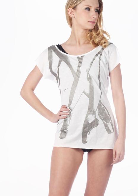 T-shirt Imprime Chaussures de Pointes So Danca Blanc. [Blanc]