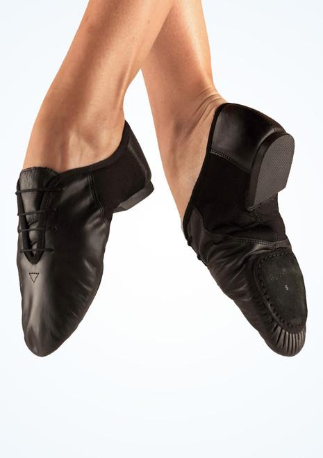 Chaussons de jazz en cuir Move Dance bi-semelle Noir. [Noir]