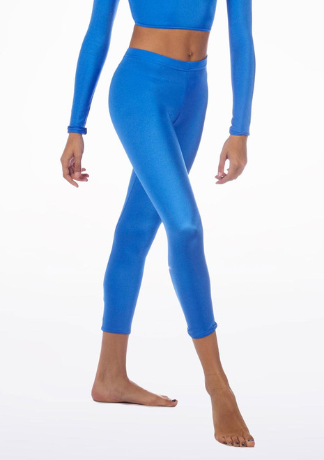 Leggings Courts Brillants Alegra Bleue avant. [Bleue]