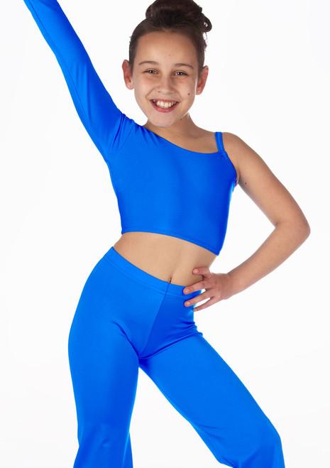 Haut de Danse Court Brillant pour filles Alegra Echo Bleue avant. [Bleue]