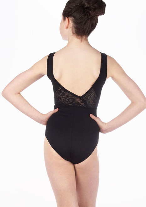 Justaucorps Pre-Ado Dentelle Florale So Danca Noir. [Noir]