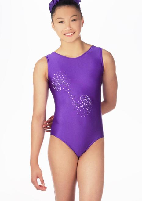 Justaucorps de gymnastique sans manches Swirl pour filles Alegra Rose avant. [Rose]