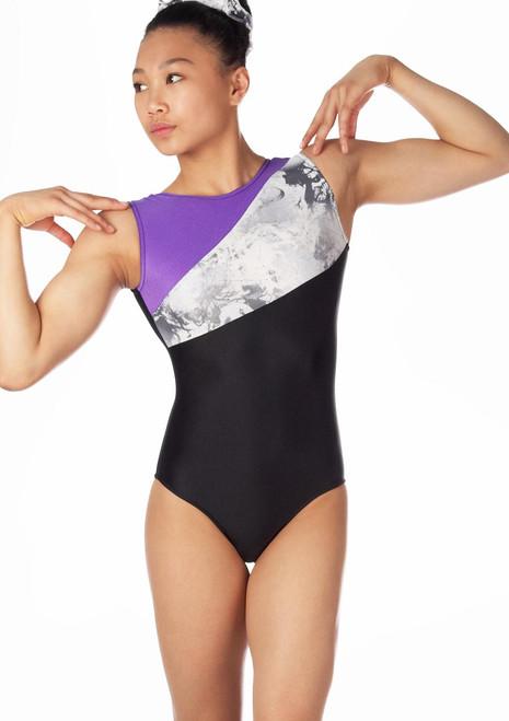 Justaucorps de gymnastique sans manches pour filles Alegra Venus Noir-Violet. [Noir-Violet]