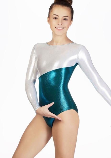 Justaucorps de gymnastique a manches longues Bridie pour filles Alegra Rose. [Rose]