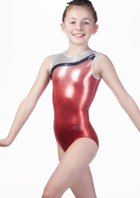 Justaucorps de gymnastique sans manches pour filles The Zone Whisper Rouge avant.