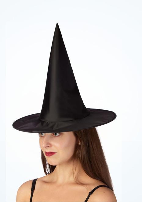 Chapeau de sorciere pour enfants en satin noir image principale. [Noir]