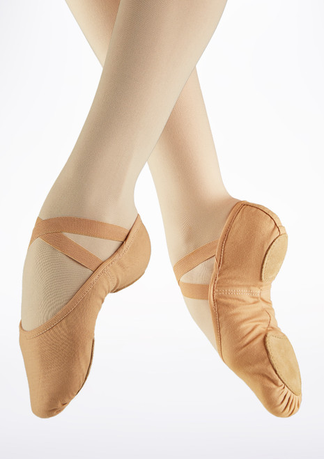 Demi Pointes Extensible en Toile So Danca SD16 bi-semelle Fauve image principale. [Fauve]