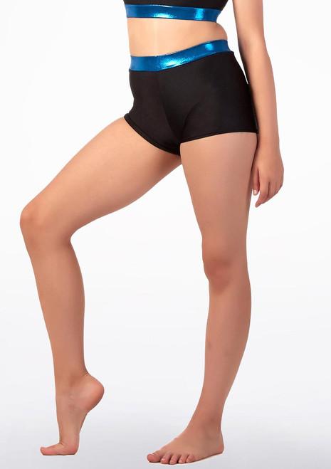 Short de danse avec taille pour filles Alegra Fuse Bleue avant. [Bleue]