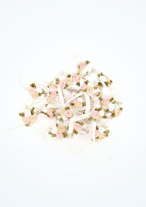 Petits bouquets de roses en satin 20 pieces Blanc image principale. [Blanc]