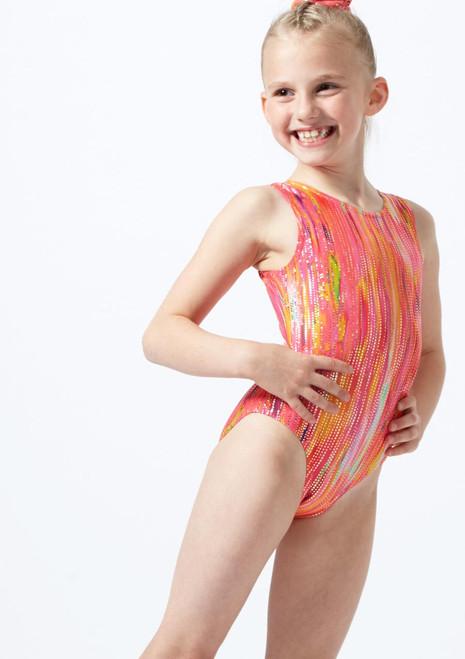 Justaucorps de gymnastique sans manches coucher de soleil pour filles Alegra Orange avant. [Orange]