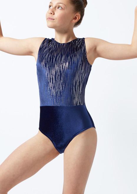 Justaucorps de gymnastique sans manches constellation pour filles Alegra Bleue avant. [Bleue]