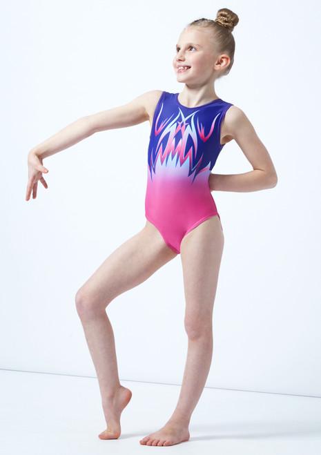 Justaucorps de gymnastique sans manches imprime rose ombre pour fille Alegra avant. [Rose]