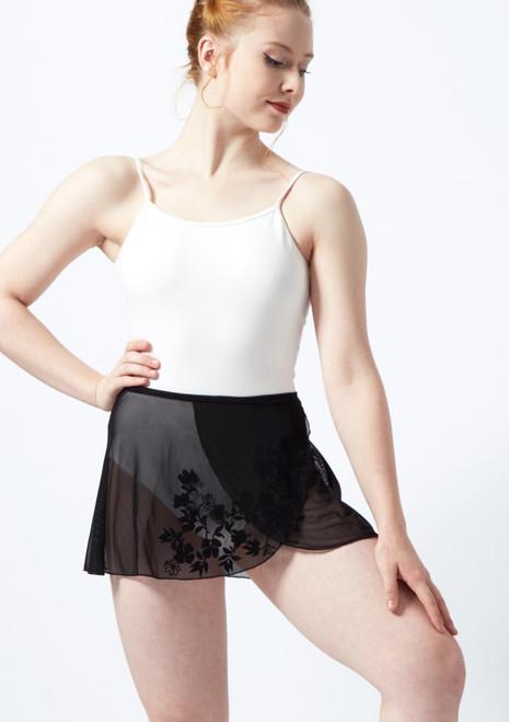 Jupe portefeuille en maille transparente floquee Ballet Rosa Noir avant. [Noir]