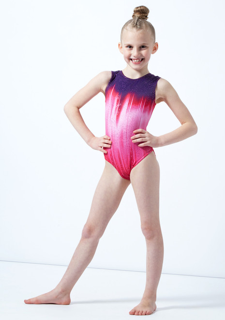 Justaucorps de gymnastique sans manches Galaxy rose pour fille Alegra avant. [Rose]