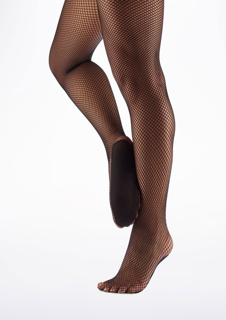 Collants professionnels en resille Capezio Noir avant. [Noir]