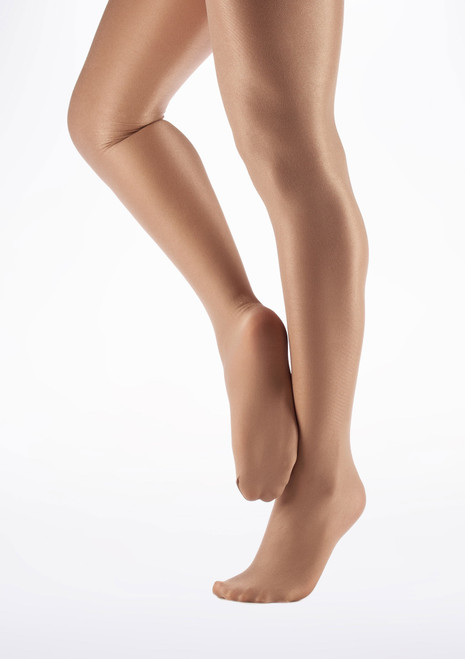 Collants de Danse brillants avec pieds Capezio Toast Pale Marron avant. [Marron]