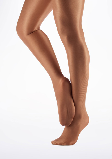 Collants de Danse brillants avec pieds Capezio Toast Marron image principale. [Marron]