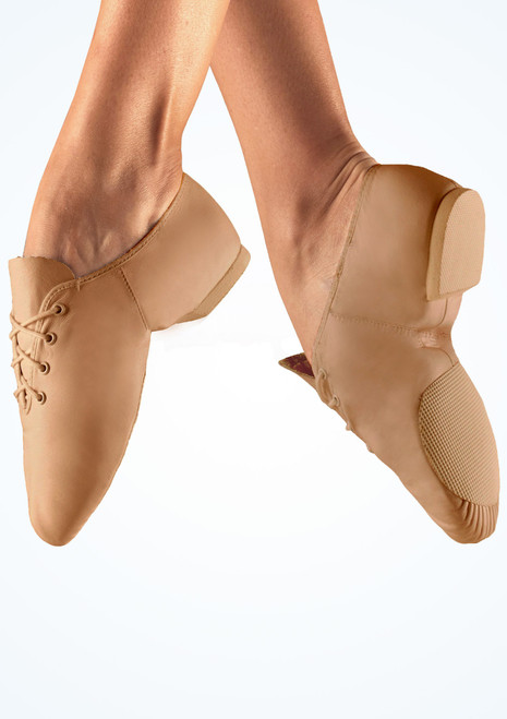 Chaussures de jazz en cuir So Danca bi-semelle Fauve Marron image principale. [Marron]