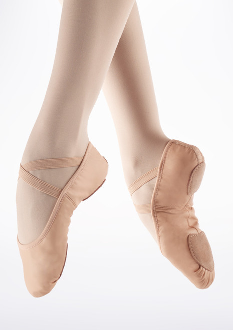 Demi Pointes Extensible en Cuir So Danca bi-semelle Rose. [Rose]