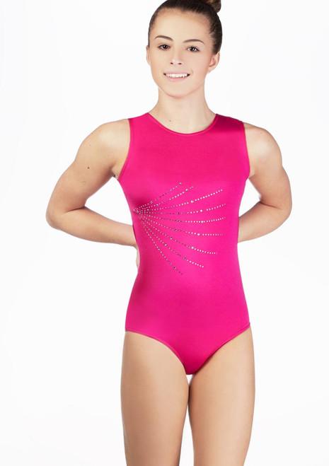 Justaucorps de gymnastique sans manches Firecracker pour filles Alegra Rose avant. [Rose]