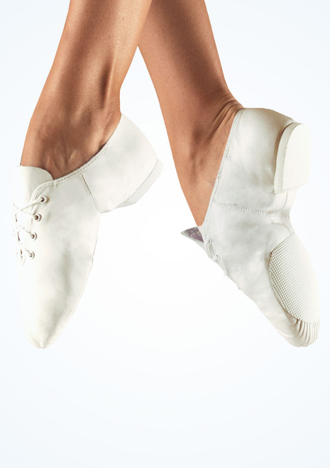 Chaussures de jazz en cuir So Danca bi-semelle Blanc. [Blanc]