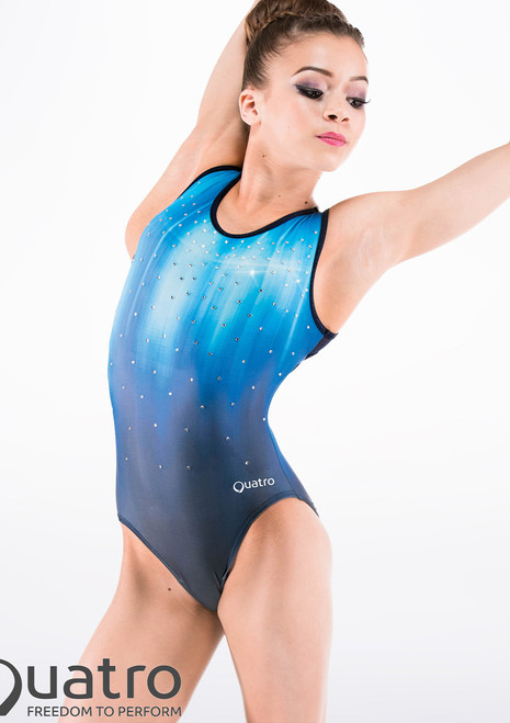 Justaucorps de gymnastique Oceana Quatro Bleue avant. [Bleue]