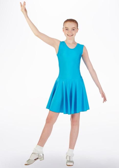 Robe danse de salon et latine sans manches Tappers & Pointers Bleue avant. [Bleue]