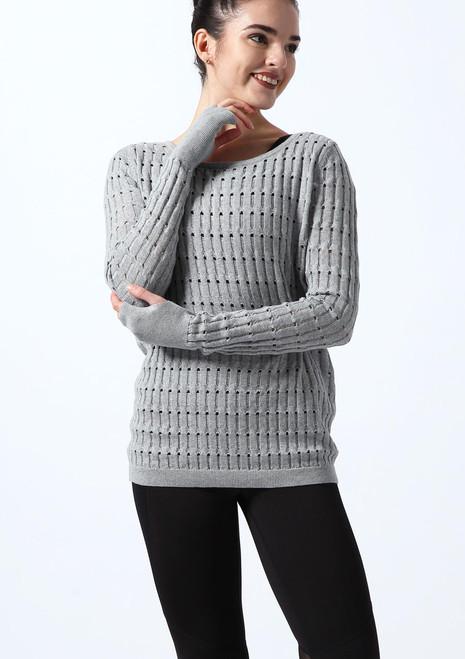 Pull manches longues tricote texture Bloch* Noir avant. [Noir]
